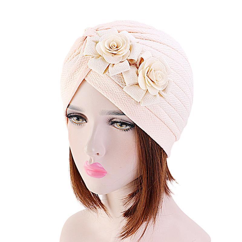 Image 4 - Женская мусульманская эластичная повязка на голову, шарф, двойная  большая шапочка с цветком, головной убор, модный тюрбан с оборками,  шапкаЖенские Skullies и шапочки