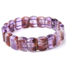 Alami Asli Purple Phantom Cacoxenite Kuarsa Bulat Manik-manik 7 Mm 6 Mm Crystal Wanita Pria Gelang Fashion Reiki Batu Langka AAAAA(China)