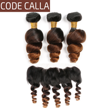 Code Calla Loose Wave Hair Bundles With Lace Frontal Ombre Color Free Part Brazilian Remy 100% Human Hair Weaving Extension стоимость