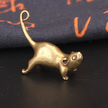 Ancient Brass Small Tea Pet Ornament Long Tail Cute Mouse Figurines Miniatures Copper Lucky Rat Study Living Room Decorations