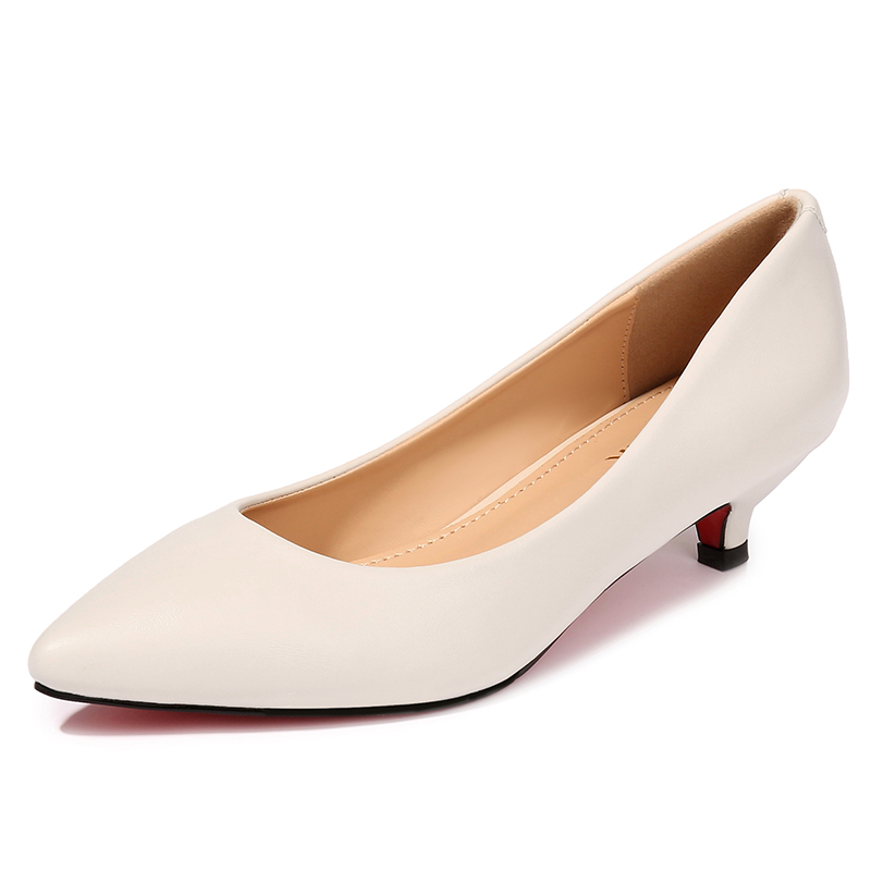 Women's 3.5cm Med High Heels Pumps Office Lady Women Shoes Sexy Bride Party Pointed Toe Split Leather Shoes JS-A0002