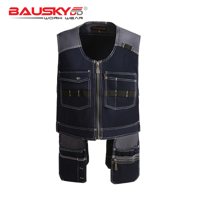High Quality Men Outdoor Mechanic Workwear Vest Work Vests Multi-functional Vests With Tool Multi Pockets B208