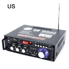 лучшая цена 600w 2 Channel Bluetooth Car Hifi Stereo Amplifier Us Plug Fm Radio Power Stereo Car Amplifier Audio Home Amplifier Music Player
