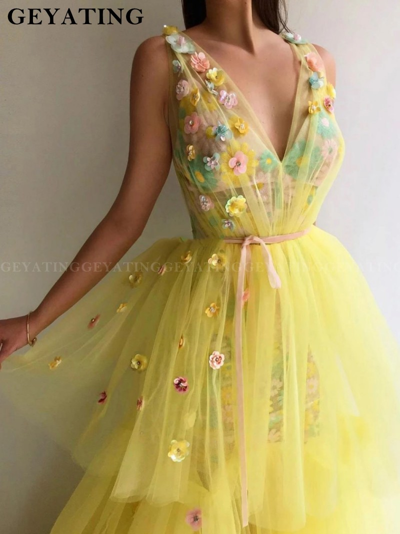 3D Floral Flowers Embroidery V Neck Prom Dresses 2020 Yellow Tiered Ruffles Sequins Women Formal Evening Gown Vestidos De Festa