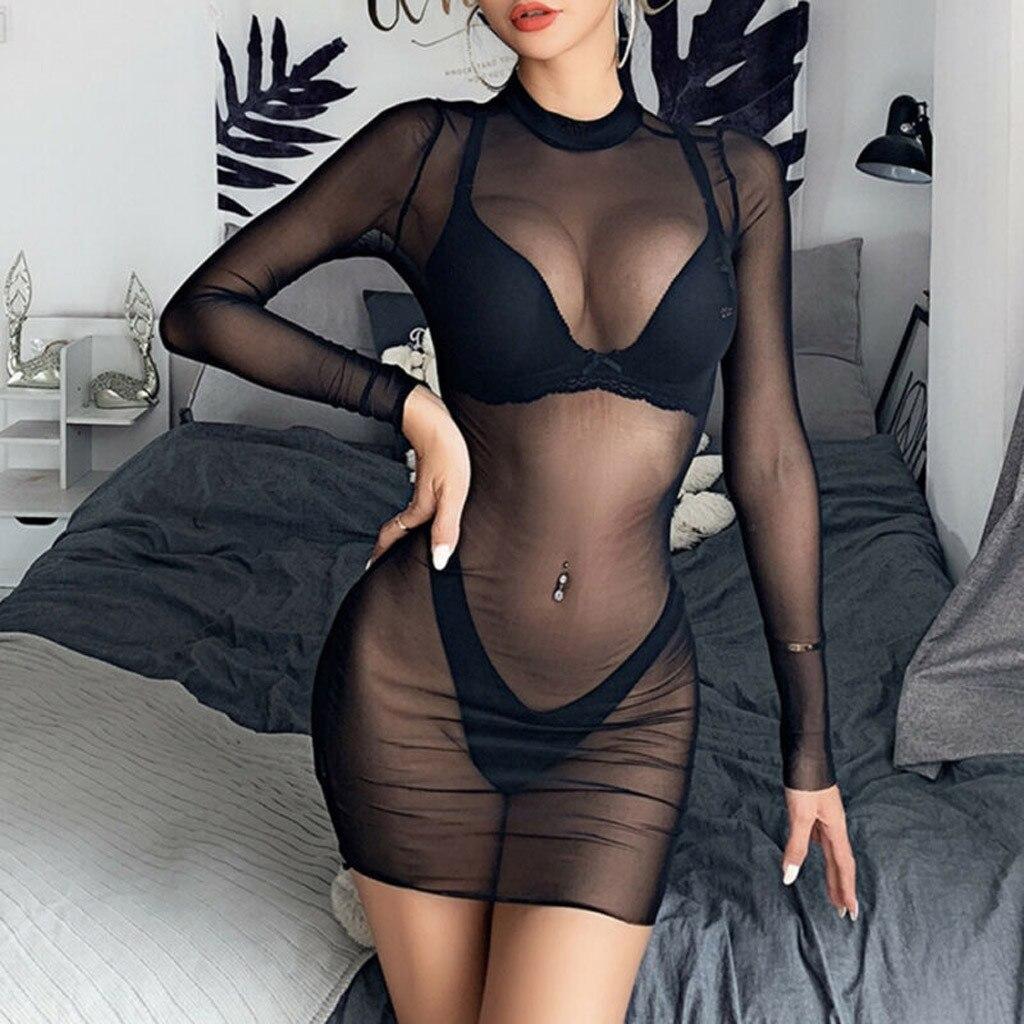 Plus Size Women's Sexy Lingerie Transparent Sheer Mesh See-Through Long Sleeve Babydoll Clubwear Mini Dress Black Sleepwear 5XL