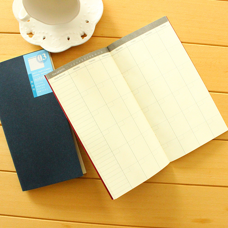 Portable Travelers Journal Notebook  Agenda Organizer Diary  Monthly Weekly Plan Paper Cover Soft Leather Student Stationery