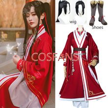 Costumes de Cosplay de l'anime Tian Guan Ci Fu, perruques et chaussures de Hua Cheng, ensembles rouges de Cosplay San Lang, Costumes de fête d'halloween