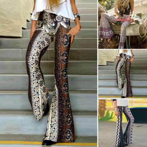Kadınlar Boho Hippi Yüksek Bel Uzun Pantolon Moda Çiçek Baskı Geniş Bacak Uzun Alevlendi Çan Legging Pantolon Yaz Streetwear Pantolon