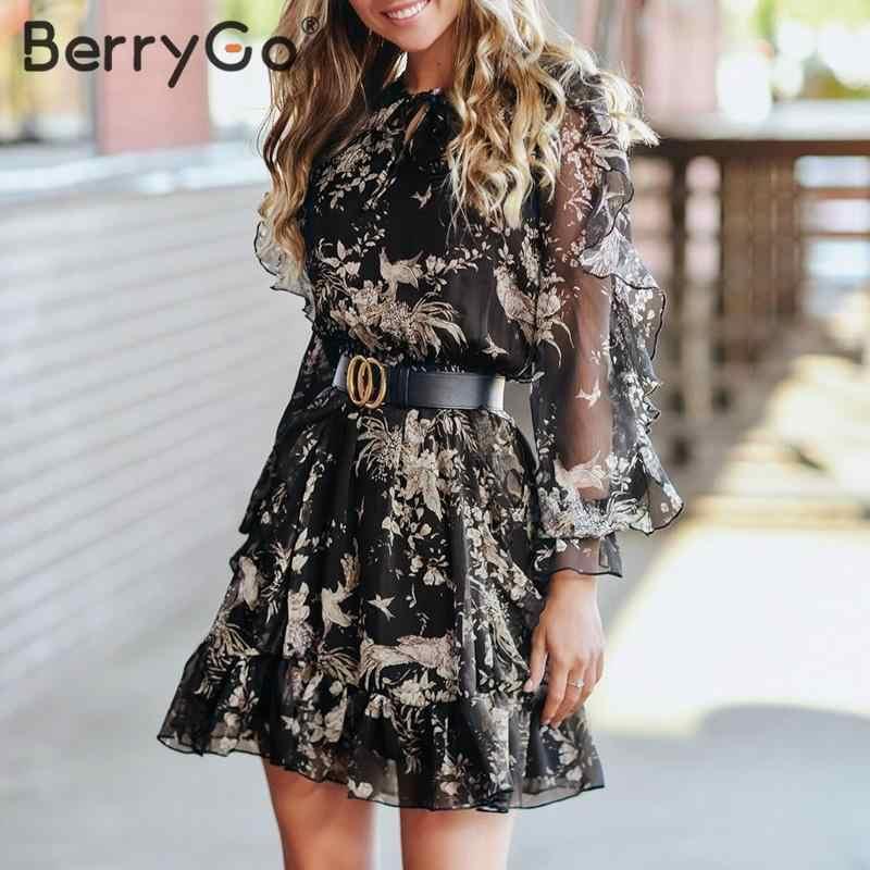 BerryGo Elegante short floral print kleid frauen V neck lace up lange hülse frühling kleid Hohe taille kräuselte urlaub sommer kleider