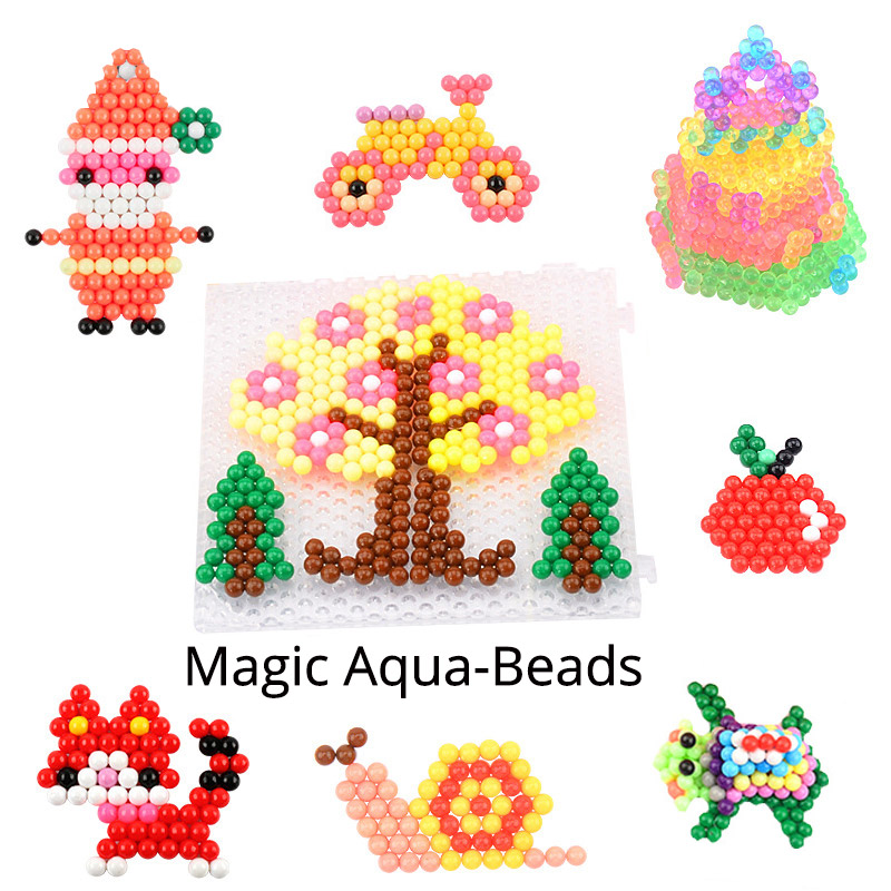 11400 Pcs Magic Aqua Bead Mega Full Set+Refill Bag For Beginner 33 Colors DIY 3d Jewel/Crystal/Solid Bead Kit Toy For Girl Gift