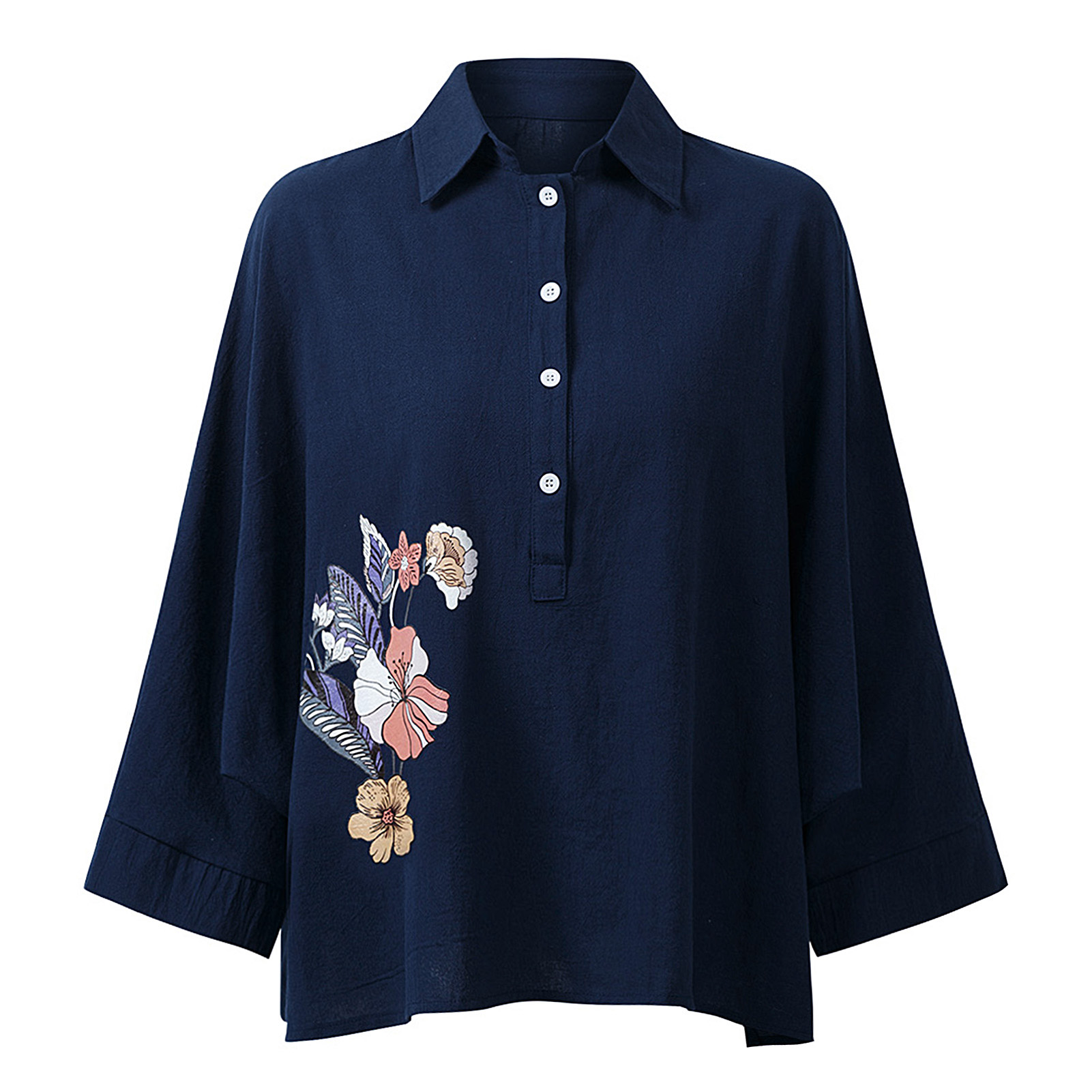 EaseHut-Women-Vintage-Blouse-Turn-Down-Collar-Long-Batwing-Sleeve-Casual-Loose-Tops-Female-Plus-Size