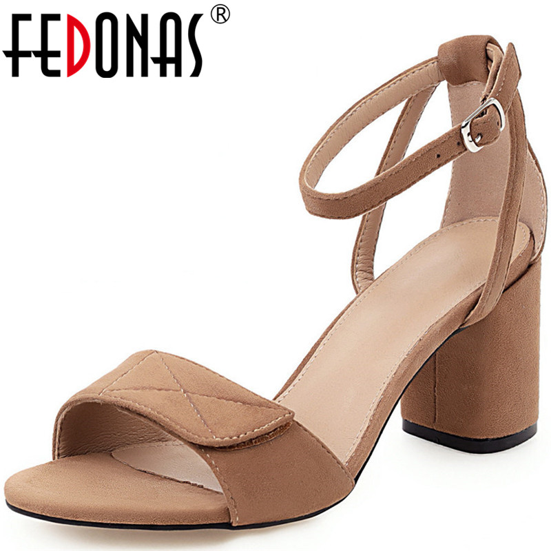 FEDONAS  Women Lace Up Buckle Cross-Tied Sandals Microfiber Slippers Thick Heels Basic Shoes High Quality Summer Shoes Woman