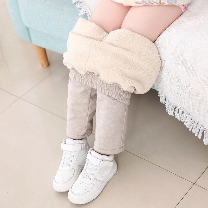 2021 Children Lamb Cashmere Pants Thick Warm Fleece Kids Winter Clothes Boys Girls Trousers for Baby Girls Woolen Fabric Pants 2