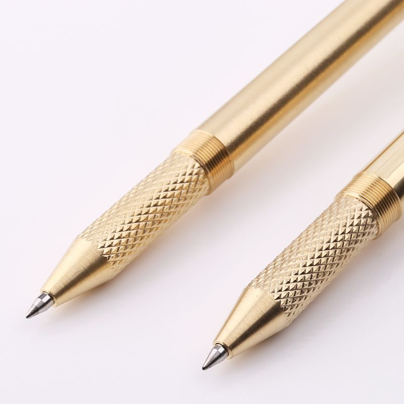 Retro Gold Brass Black Ink Ballpoint Pen Handmade With Clip Office School Supplies Stationery R9UA