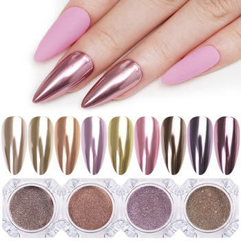 1 Box 0.3g Nail Mirror Glitter Powder Dust Gold Champagne Silver Rose Gold Metal Effect Metallic Effect Nail Art Dust Decoration