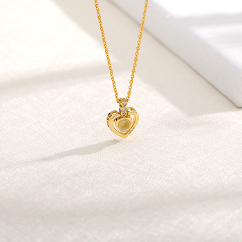 New Rose Gold Silver 100 Language I love You Necklace Memory Projection Pendant Wedding Letter Necklace Drop Shipping strollgirl new 100 5 sterling silver 100 language i love you projection rose gold color pendant necklace wedding fashion gift
