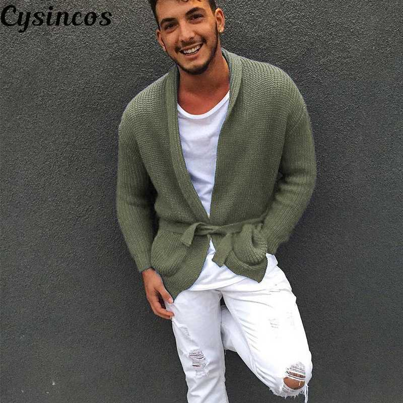 CYSINCOS New Men's Cardigan Sweaters For 2019 Male Casual Knitted Sweater Coat Solid Long Sleeve Outerwear Pull Homme Hiver