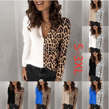 Women's Top Leopard Print V-neck Long Sleeves Ladies Shirt Loose T-shirt Fashion Blouses Female Tops Girls Casual Clothes grey random floral print round neck long sleeves t shirt