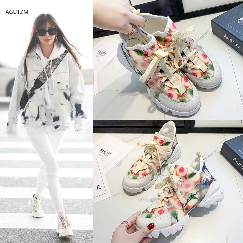 AGUTZM Fashion Shoes For Women Lace-up Comfortable Casual Shoes Woman Vulcanized Shoes Zapatillas Mujer 2019 Women Sneakers Z298