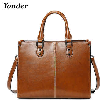 Yonder Leather luxury women handbags female vintage leather shoulder bag large capacity totes crossbody bags for ladies 2019 - DISCOUNT ITEM  59 OFF Luggage & Bags