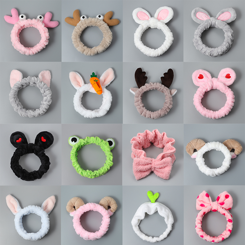Women And Girls Hair Bands Makeup Mask Elastic Force Bow Hair Band Rabbit Ears Small Animal Cartoon Headdress Hair Accessories