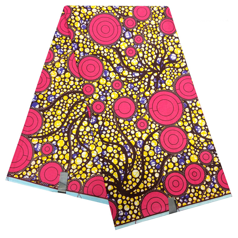 High Quality 6yards\lot Colorful Dot Prints Fabric Ankara New Dutch Wax African Fabric For Party Dress