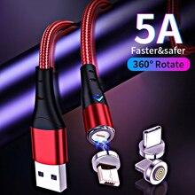 5a cabo magnético do usb micro tipo c cabo de carregamento rápido usb c cabo do fio do carregador do telefone móvel tipo c para o iphone 12 samsung s20