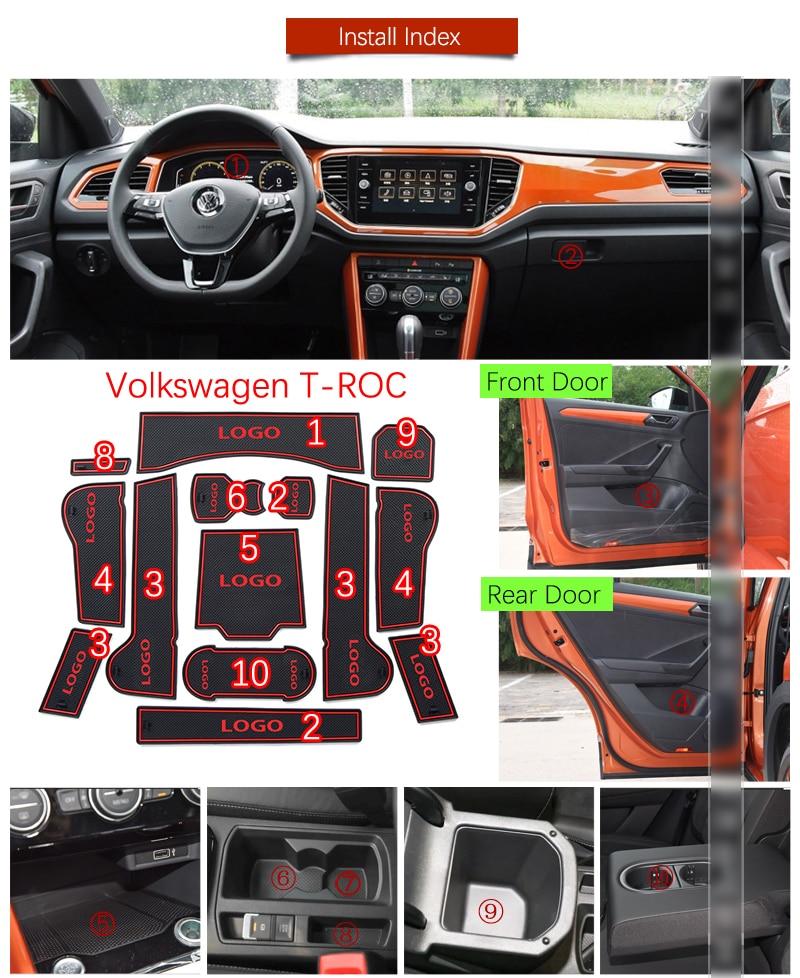 Door Groove Mat For VW T-ROC Volkswagen TROC T ROC 2017 2018 2019 Accessories Anti-Slip Mat Gate Slot Coaster Car Interiors Gel