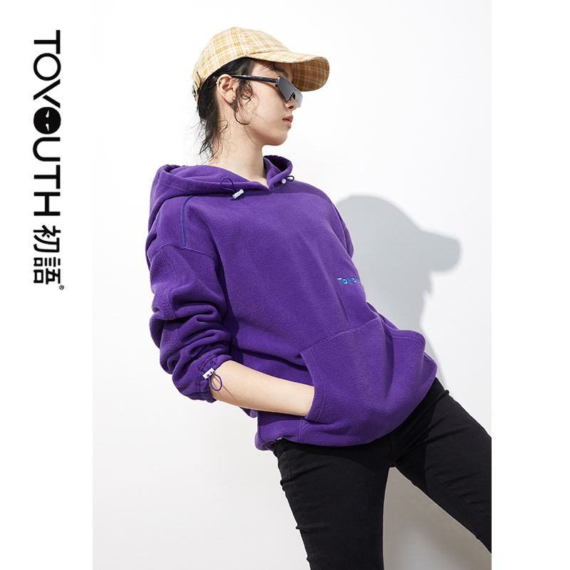 Toyouth Casual Fleece Embroidered Thick Hooded Sweatshirts For Women Streetwear Loose Hoodies
