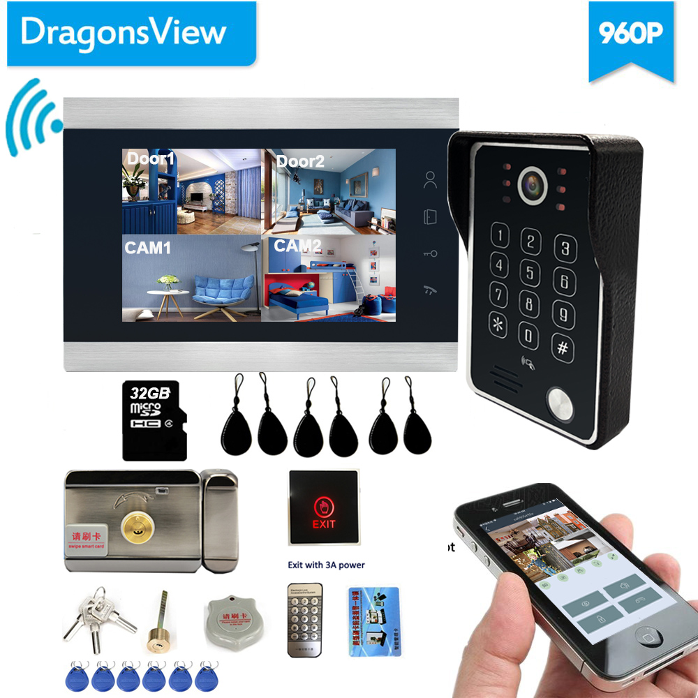 Dragonsview Wireless Video Door Phone Wifi Smart IP Home Intercom  With Electronic Lock  7 Inch AHD 960P IR Leds
