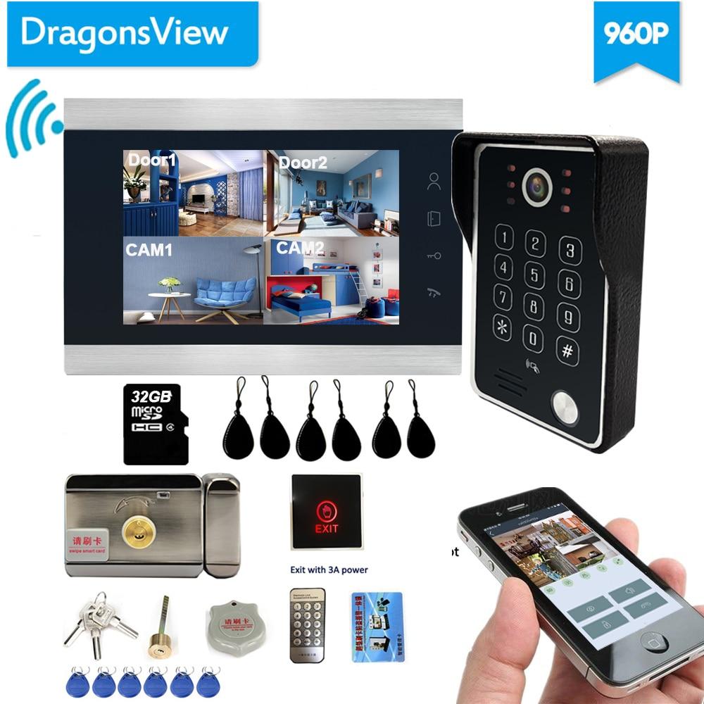Dragonsview Wireless Video Door Phone Wifi Smart IP Home Intercom  With Electronic Lock  7 Inch AHD 960P IR Leds