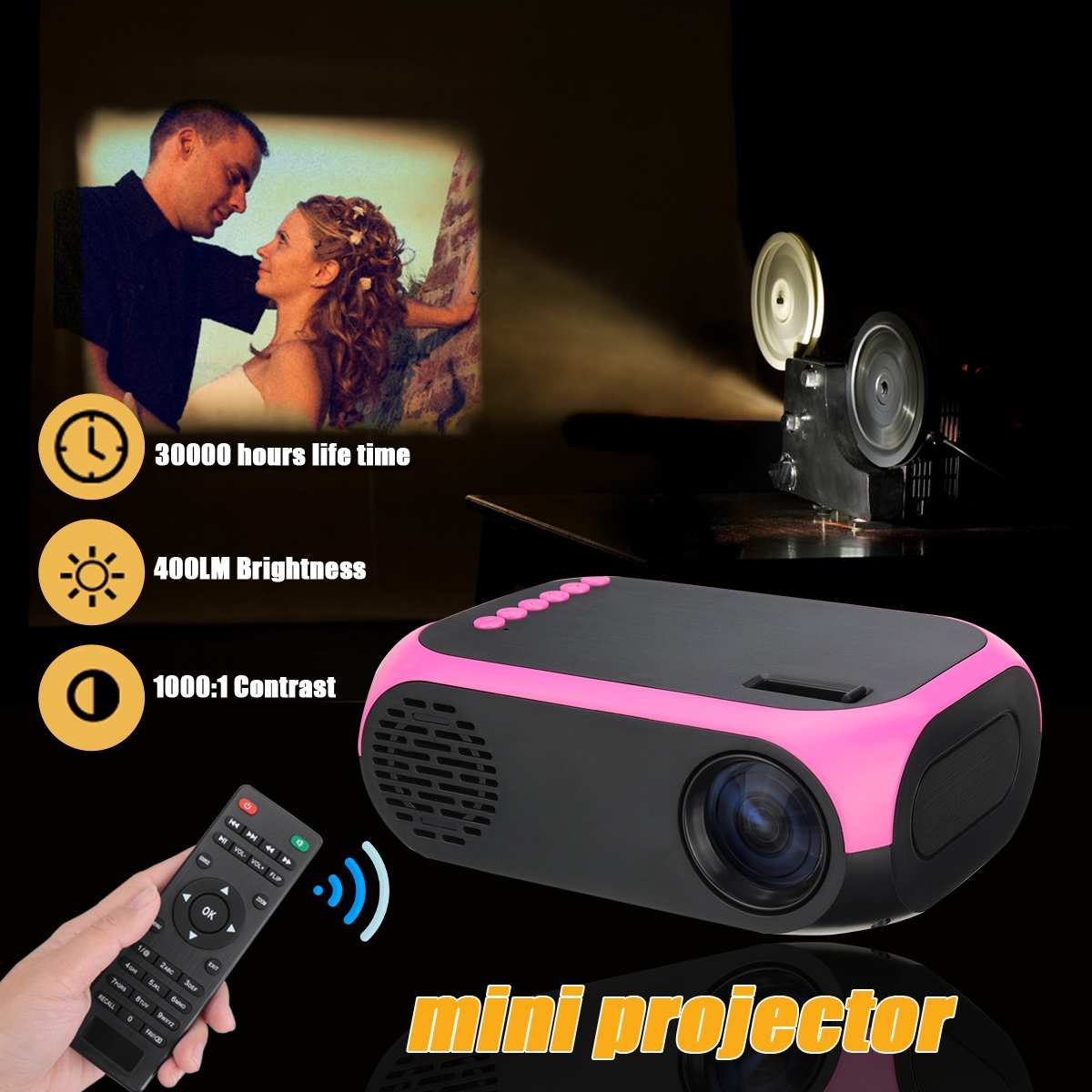 80 Inch Home Projector Large Screen 1920* 1080P 400LM USB Power Supply 30000 Hours Life LCD Projector Home Theater Video Player