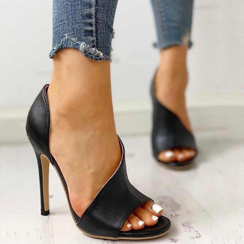 WDHKUN kadın ayakkabı pompaları açık parmaklı topuklu kadın yüksek topuklu siyah seksi pompalar peep toe topuklu bayan ayakkabıları talon femme seksi HVT735