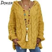 Jersey de manga larga con capucha para mujer, suéter de punto suelto de Color sólido de talla grande, Tops cruzados Vintage para invierno