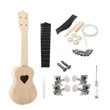 21 Polegada ukulele diy kit esculpido com coração padrão soundhole, construir e paintable seu próprio presente interessante musical