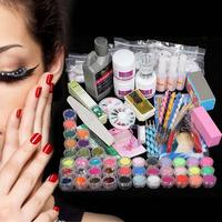 New Acrylic Powder Glitter Nail Brush False Finger Pump Nail Art Tool Kit Set Gems Decoration Crystal Rhinestone Brush Tools Kit