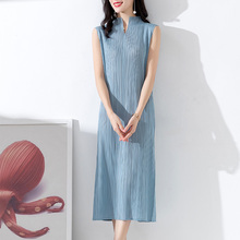 Fold Dress Stand collar Sleeveless 2019 New Summer Style Fork opening Issey Celebrities temperament Skinny