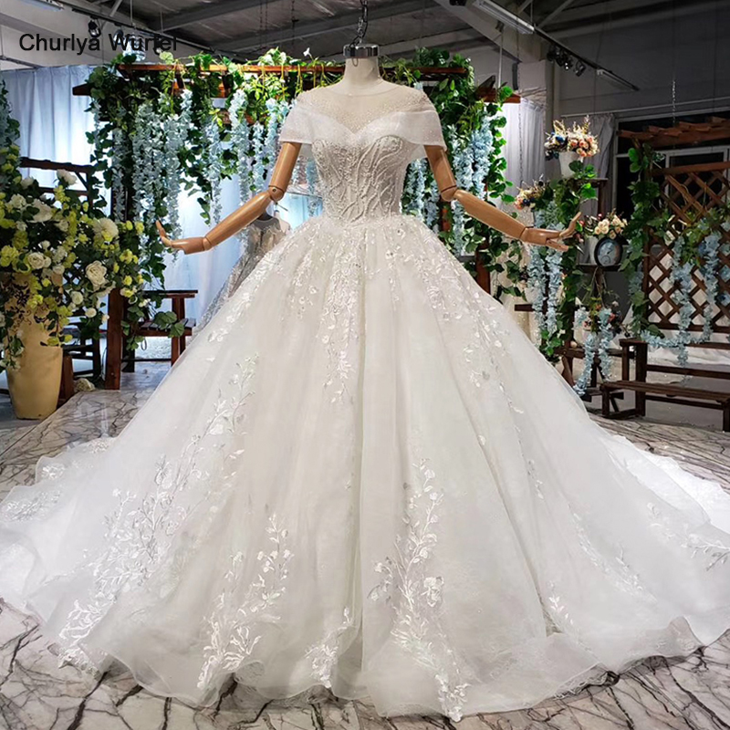 HTL918 Ball Gown Wedding Dress Boho Vintage O-neck Cap Sleeves Appliques Sequined Wedding Gown With Train New Suknia Slubna 2020