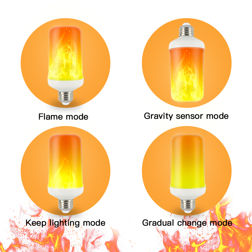 IngHoo realistic flame light bulb dynamic flame effect flashing light bulb kitchen bedroom lighting party party atmosphere light 3