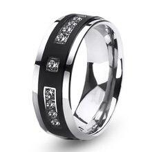 Модные мужские кольца очаровательное кольцо стразы из нержавеющей