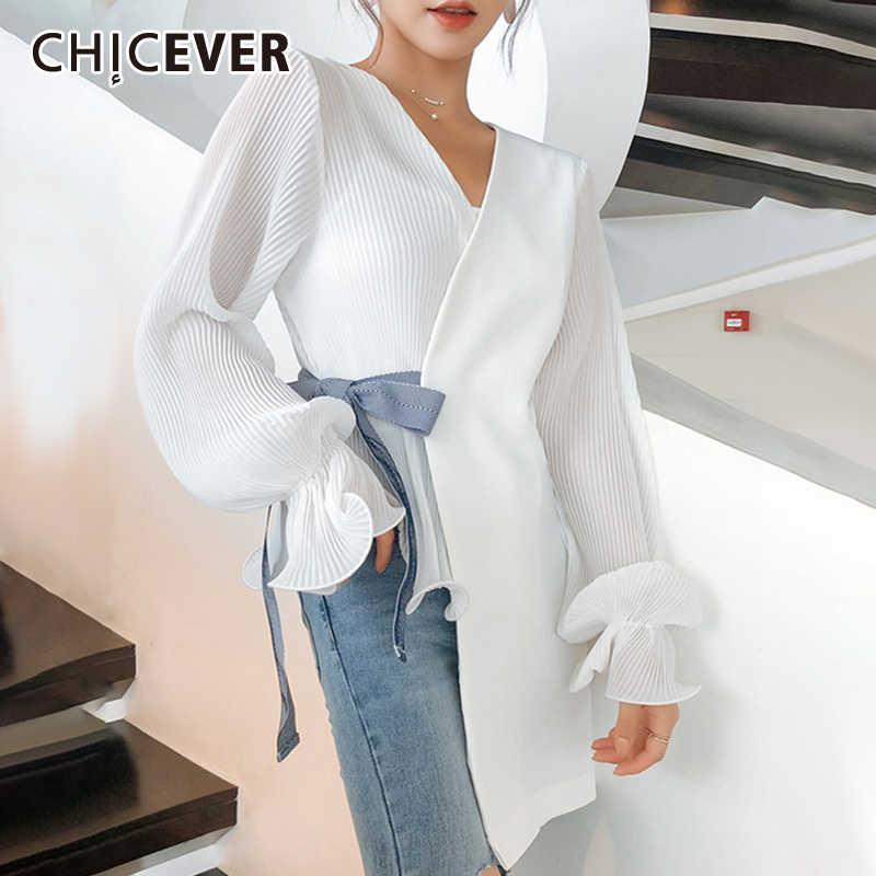CHICEVER เกาหลี CHIC Lace Bowknot เสื้อผู้หญิง V คอโคมไฟแขนหลวมอสมมาตรเสื้อฤดูใบไม้ร่วงหญิง 2019