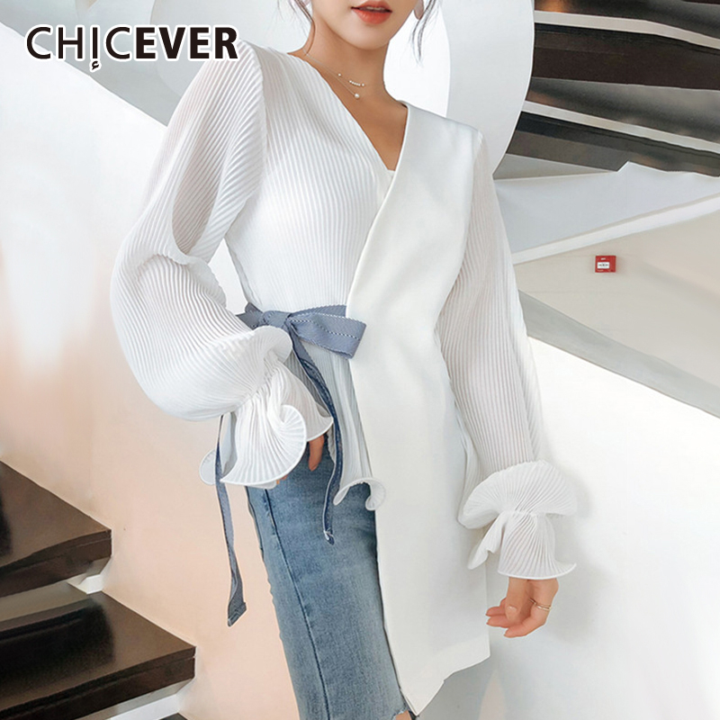 CHICEVER Korean Chic Lace Up Bowknot Women's Shirt V Neck Lantern Sleeve Loose Asymmetrical Blouse Female Autumn Fashion 2020