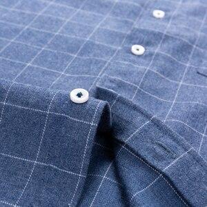 Image 4 - ลายสก๊อตผู้ชายลายสก๊อตแขนยาวแปรงเสื้อแพทช์เดี่ยวกระเป๋านุ่มสบายผ้าฝ้ายมาตรฐาน Fitหนา