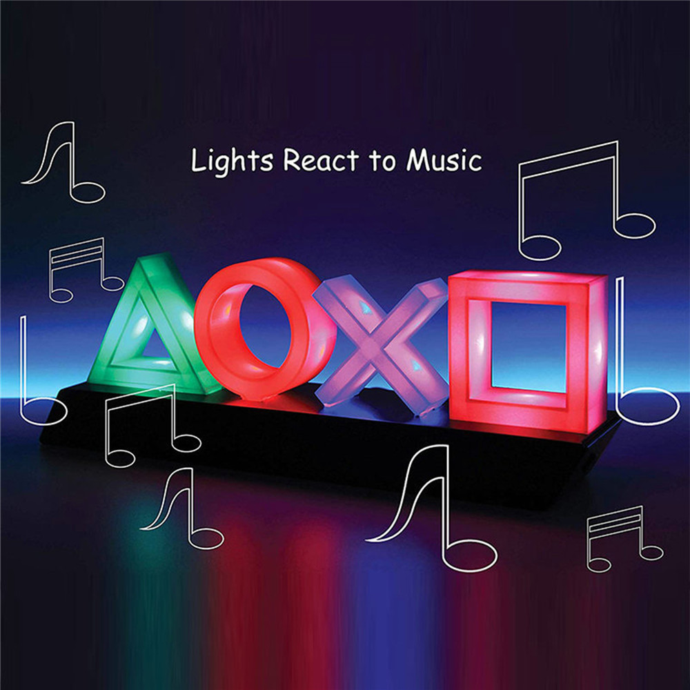 Voice Control Game Icon Light Game Scene Room Atmosphere Three-level Adjustment Icon Light for PS4 Controller Button