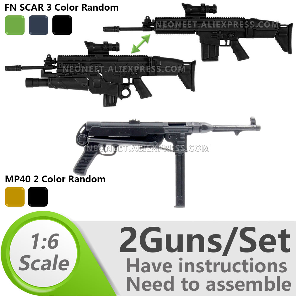 1:6 1/6 Scale 12 inch Action Figures Rifle FNSCAR Grenade Launcher WWII <font><b>MP40</b></font> Submachine Gun Model Gun Toy For 1/100 MG Gundam image