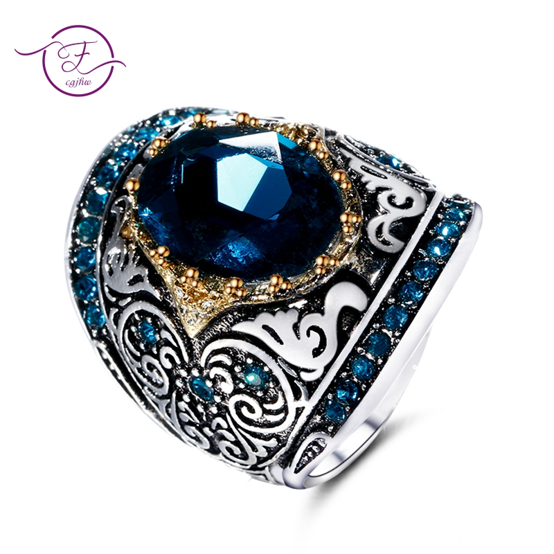 Silver Fashion Jewelry Rings For Men Women's 925 Sterling Silver Rings 10X14MM Big Blue Gemstone Ring Anniversary Party Gifts