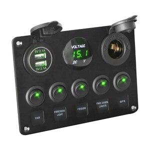 LEEPEE 5 Gang 12V Водонепроницаемый интегрированный переключатель Панель Цифровой вольтметр двойной USB Порты и разъёмы для автомобиля морской светодиодный Кулисный аксессуары
