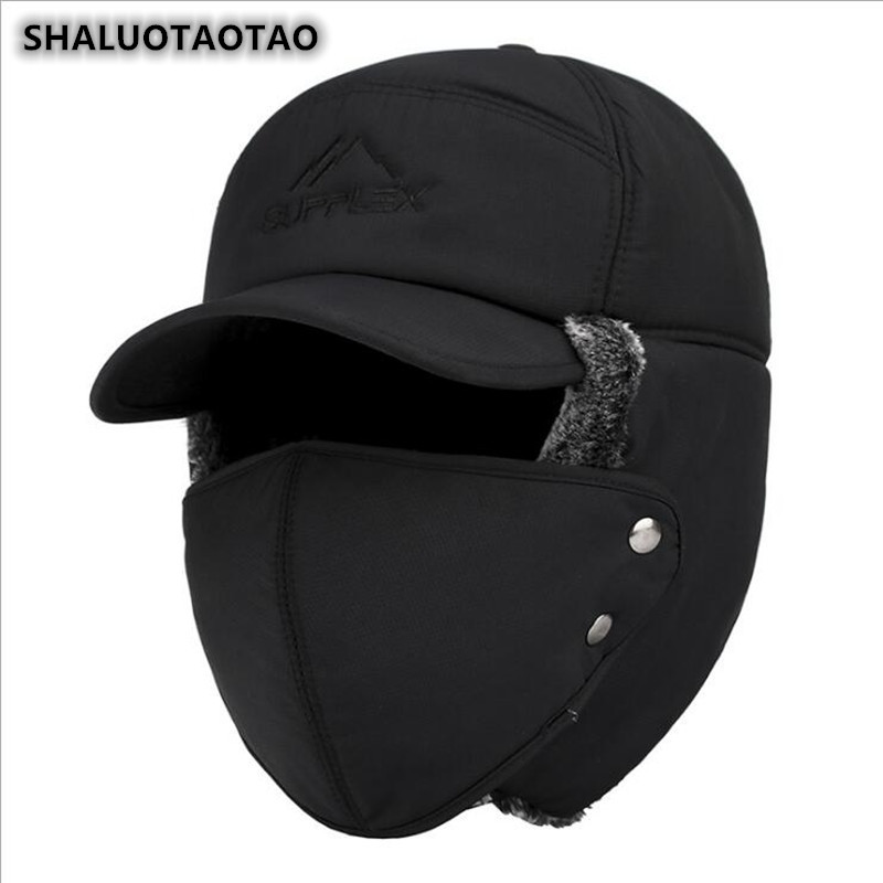 SHALUOTAOTAO Trend Winter Thermal Bomber Hats Men Women Fashion Ear Protection Face Windproof Ski Cap Velvet Thicken Couple Hat