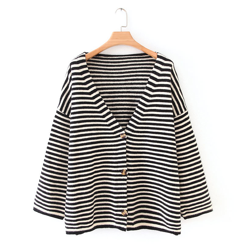 new autumn women v neck striped casual loose knitted sweaters ladies single breasted chic cardigan sweater coats tops S147