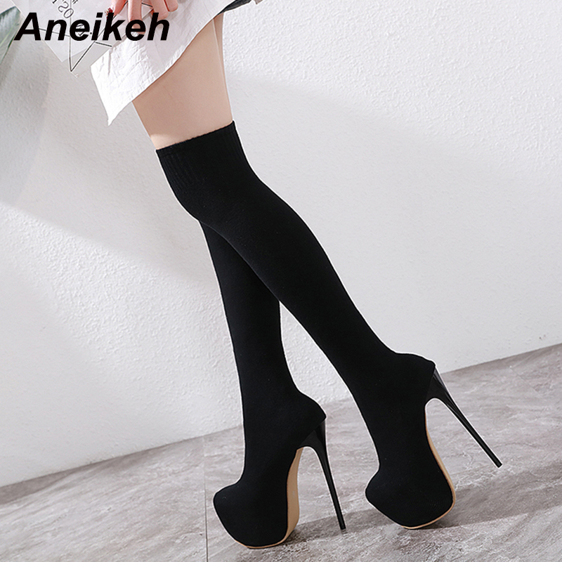 Aneikeh Fashion Stretch Fabric Over-the-Knee Boots Shoes Woman 17 CM Thin High Heels Chelsea Riding, Equestrian Nightclub Botas